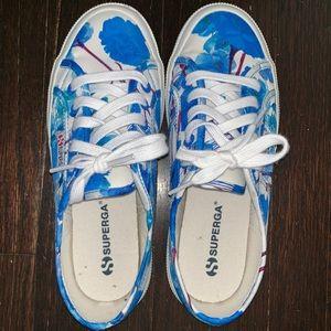 SUPERGA Blue & White Floral Sneaker